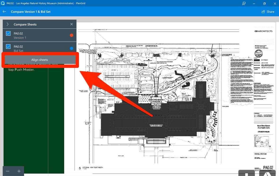 Comparing Sheets – PlanGrid